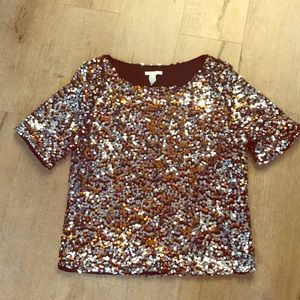 Silver, Gold & Black sequined top